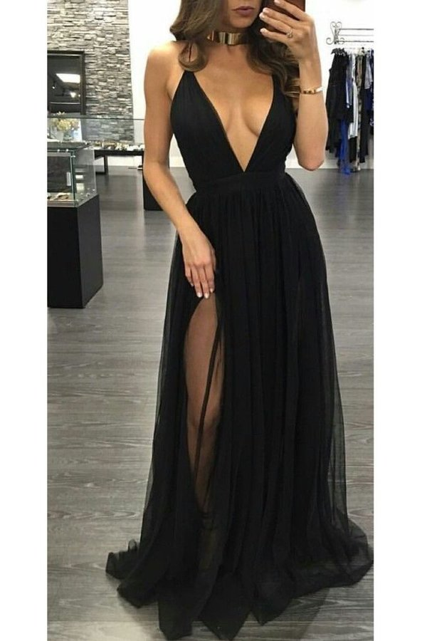 Spaghetti Straps A Line Evening Dresses Tulle With PX8Z4BSR
