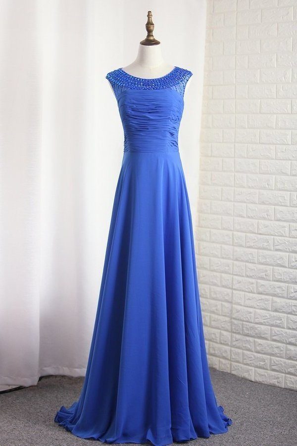 Chiffon Bateau A Line Prom Dress Ruffled And Beaded PSYJHDCH