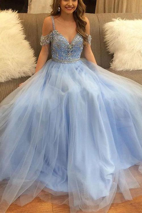 Stylish A-Line V-Neck Off-the-Shoulder Blue Tulle Long Evening Dresses with Beading