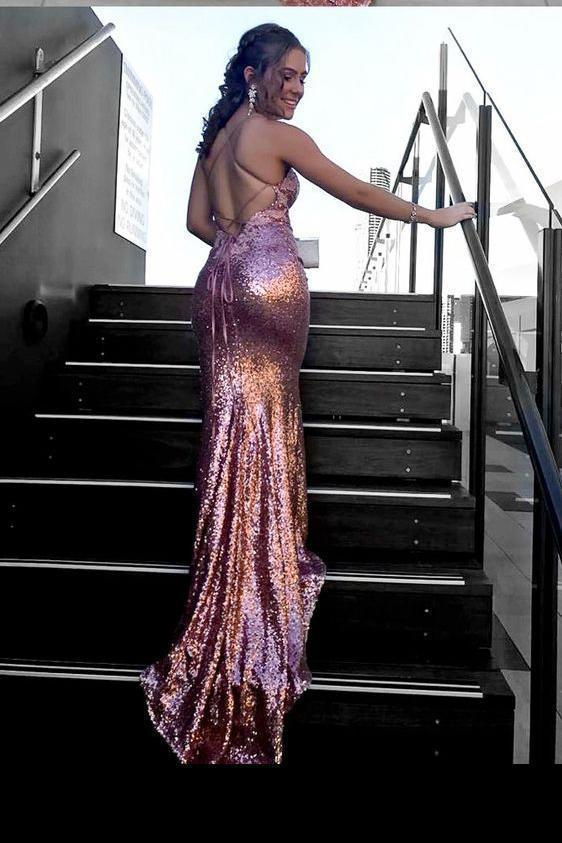 Sexy Spaghetti Straps V-Neck Backless Halter Mermaid Long Sequins Prom Dresses
