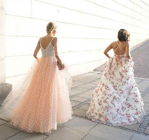 Sparkly A-line Pink Straps Beads Sweetheart Long Backless Appliques Prom Dresses