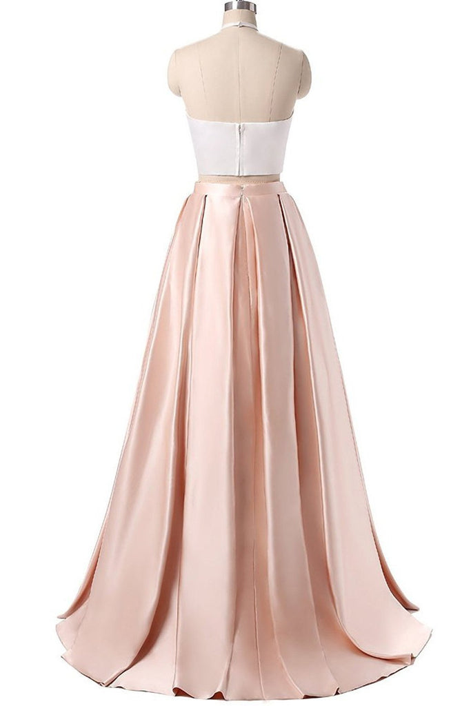Simple Two Pieces Pink Halter Long Sleeveless Pleated Backless A-Line Prom Dresses