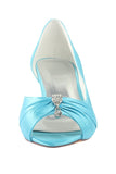 Sky Blue Peep Toe Beading Lower Heel Evening Shoes Wedding Dresses
