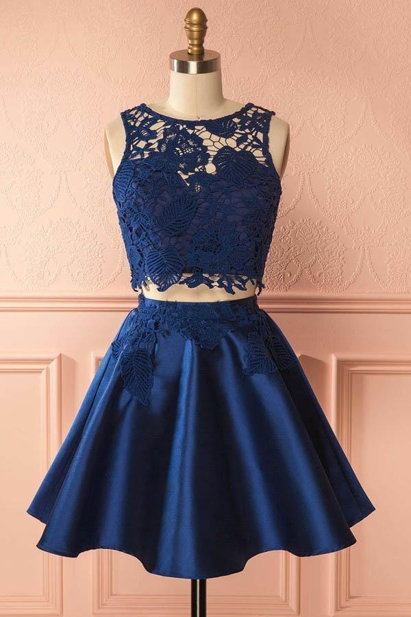 Two Piece Dark Blue Satin Cute Short A-Line Homecoming Dress with Lace Appliques