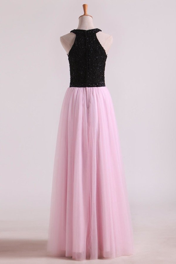 Bicolor Prom Dresses A-Line Scoop Floor-Length Tulle Black Bodice Zipper PTPPCKMF