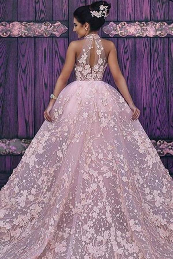 Attractive High Neck Wedding Dresses Lace With Appliques And Detachable Train PN4FX8BJ