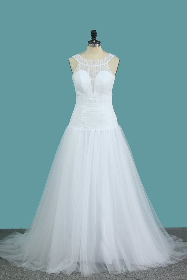 2020 A Line Tulle & Lace Wedding Dresses Scoop Sweep Train PPHQB94A