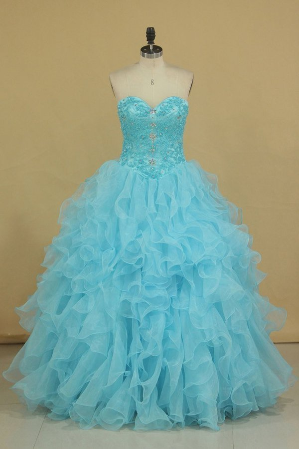 Sweetheart Beaded Bodice Organza Quinceanera Dresses PQKCEPXX