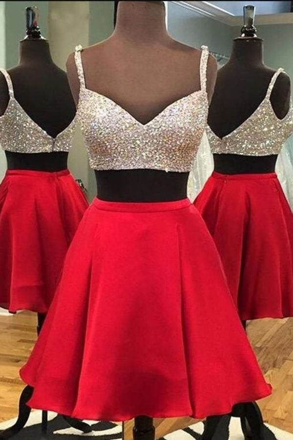 2020 A Line Two Pieces Straps Homecoming Dresses Satin P4PYHHT8