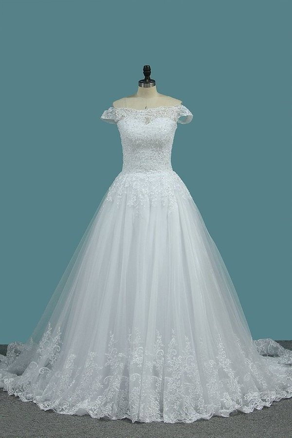 A Line Tulle Off The Shoulder Wedding Dresses With Applique PZ9JNF9J