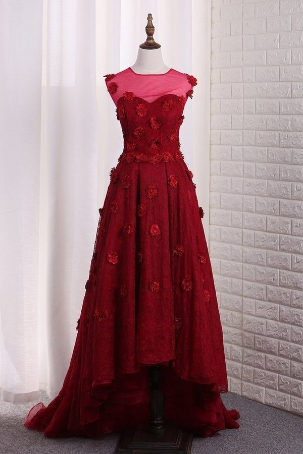 2020 Sweetheart Lace Asymmetrical Prom Dresses P9SXX7PB