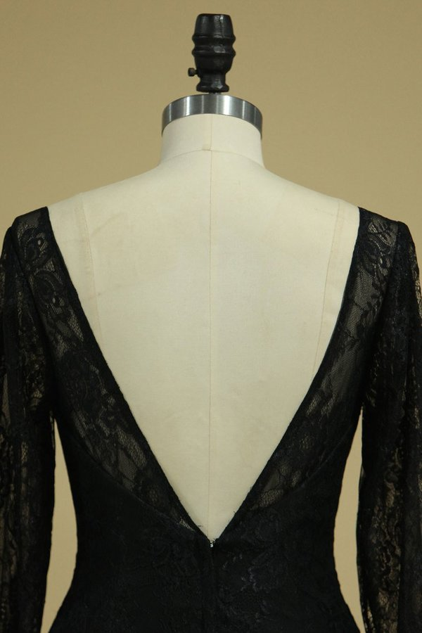 Black Sexy Open Back Long Sleeves Mother Of The Bride Dresses Mermaid Chiffon & PNCMLD5L