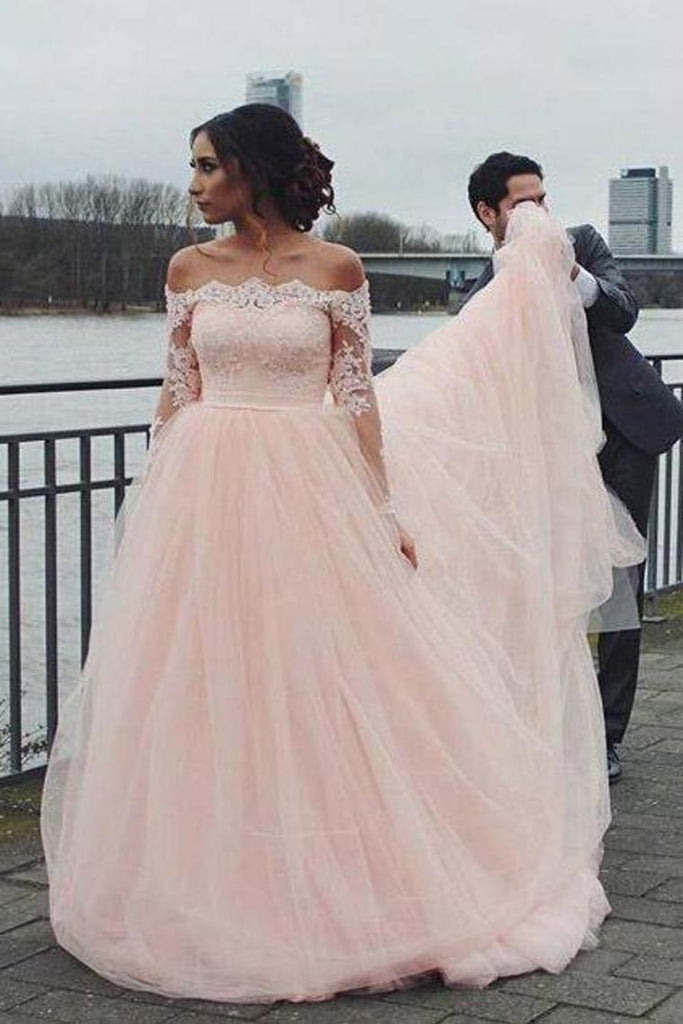Off The Shoulder Long Sleeves A-Line Wedding Dresses Tulle Bridal STGP2K63XZ9