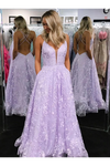 A-Line Floor Length Lace Prom Dresses Backless Formal Gown With STGP99L84FB