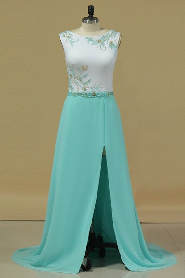 A Line Scoop Prom Dresses With Beads And Slit Sweep Train PZQ3LZGX