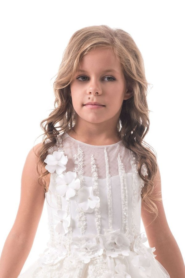 Flower Girl Dresses A Line Scoop Tulle With Beads And PQQ7SZCP