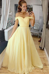 Elegant Off The Shoulder A-Line Chiffon&Satin Sweep Train Simple Prom STGPTJ1FRBQ