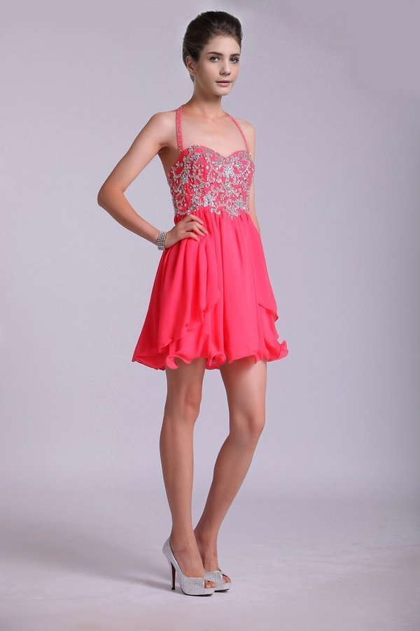 Homecoming Dresses A Line Halter Short/Mini Chiffon With Beading & PDJ4XTHD