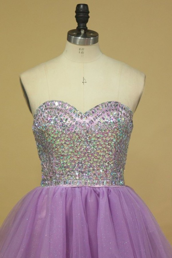 A Line Sweetheart Homecoming Dresses Tulle With Rhinestone PT2D1J7X