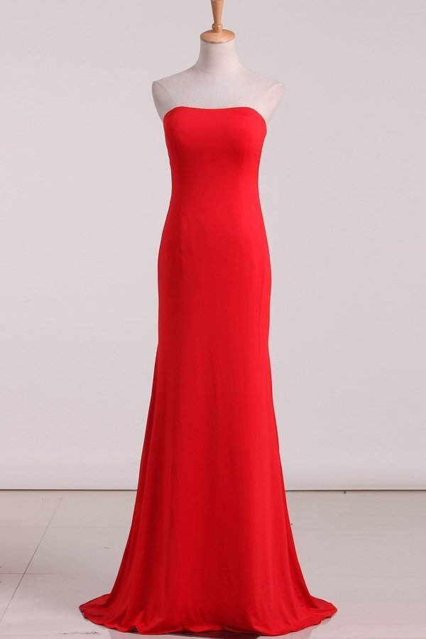 Evening Dresses Mermaid Strapless Spandex Sweep PAP4R2F8