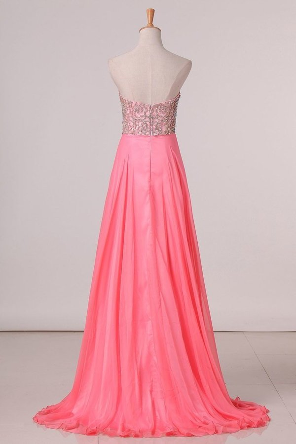 2020 A Line Prom Dresses Sweetheart Beaded Bodice Chiffon Sweep PCEPEM6K