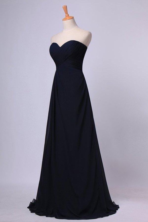 Full Length Sweetheart Chiffon Bridesmaid Dresses Shirred Bodice Empire Waist Chiffon PC8Q1ZZK