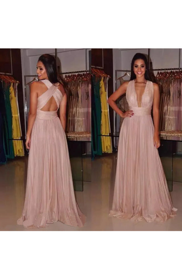 Evening Dresses V Neck Open Back Chiffon With Ruffles P1AFSL93