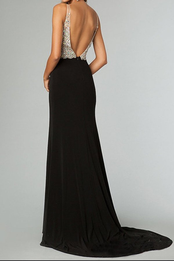 Full Beaded Tulle Bodice Backless Sexy Prom Dress Court Train PPRDS3M5
