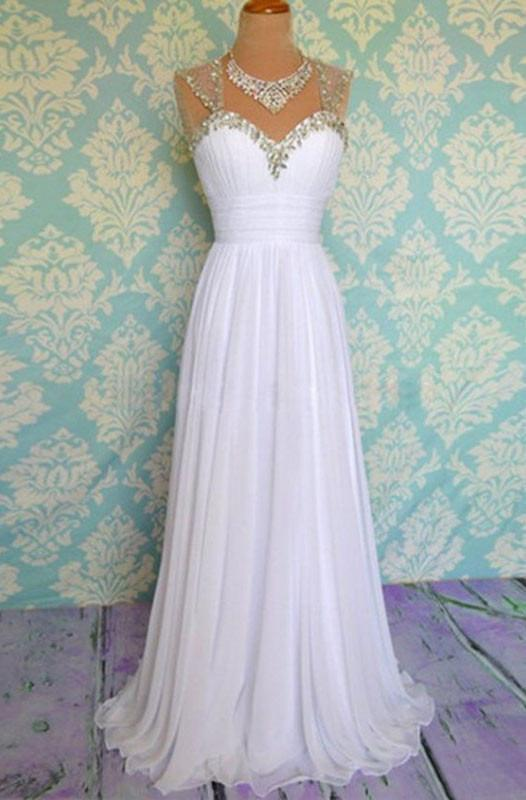 White Beading Long Chiffon Prom Dresses Evening Dresses