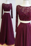 Two Piece Burgundy Bateau Long Sleeves Floor-Length Prom Dress with Lace Beading