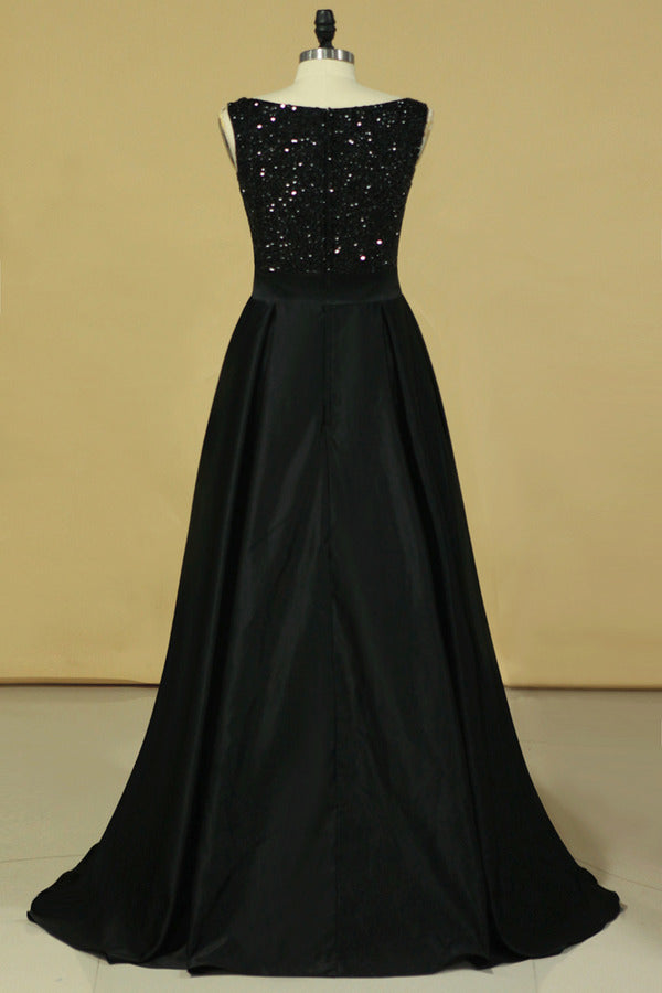 Black Prom Dresses Black Bodice Scoop Satin Floor Length Beaded & PQANBK31