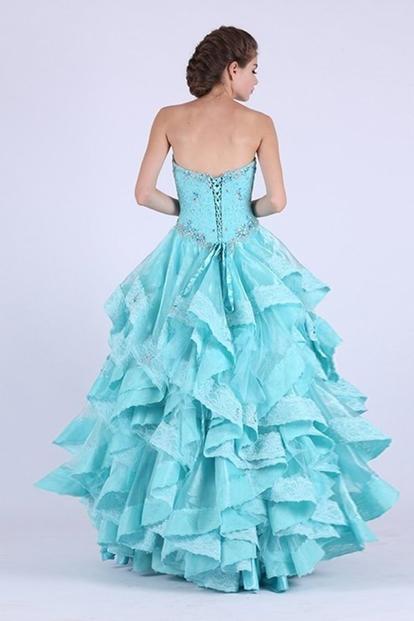 A Line Sweetheart Prom Dresses Organza With Applique And P4G2D32H