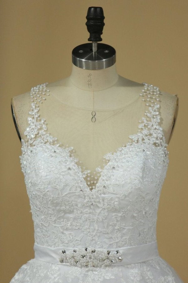 Gorgeous Sleeveless Scoop Wedding Dresses Tulle With Applique P5SJHTZT