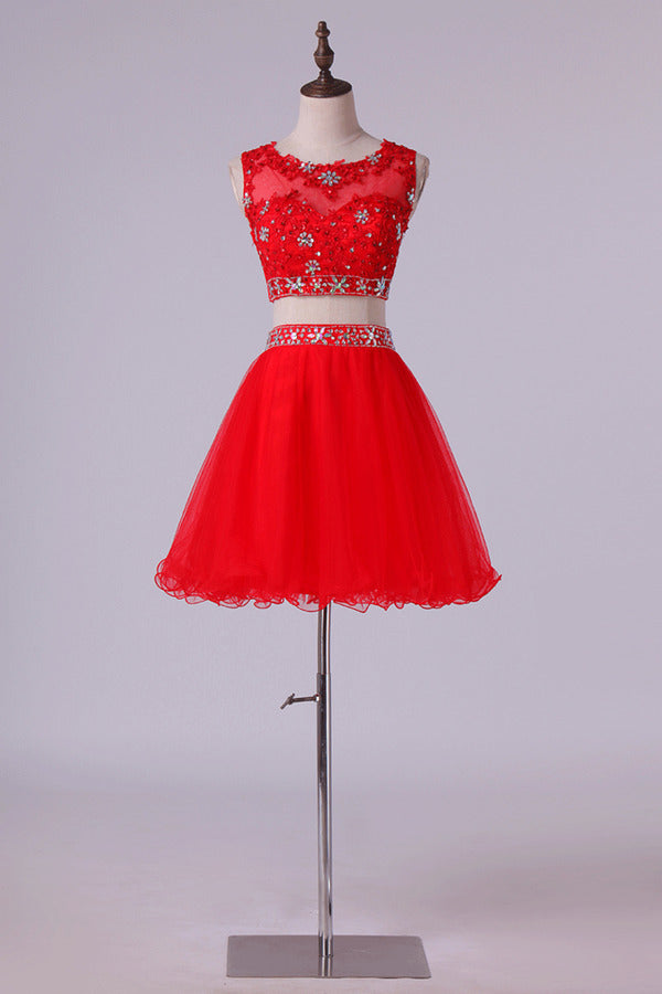 Homecoming Dresses Scoop Tulle Mini With Beading & Applique Two P1R3TR4L