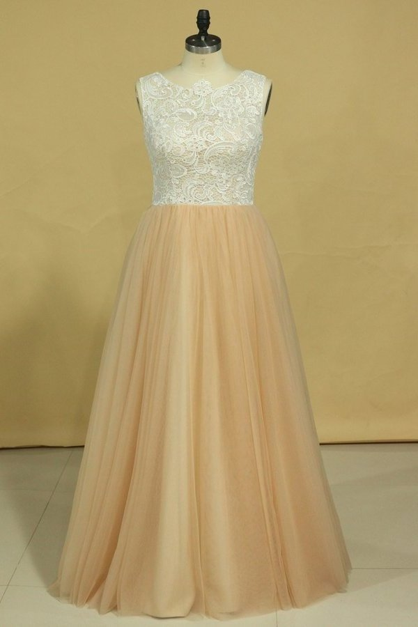 Plus Size Scoop A Line Prom Dresses Tulle & Lace Floor PQQGFRLR