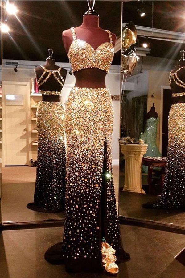 Sparkly Sweetheart Gold And Black Front Split 2 Pieces Beading Modest Prom Dresses