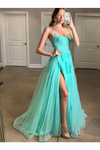Spaghetti Straps High Slit Evening Dress Appliqued Sweep Train Long Prom STGPK6C7A1K