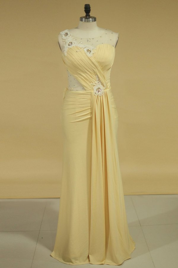 Spandex Scoop Prom Dresses Mermaid/Trumpet With Pearls And P4371GJE