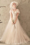 Unique Tulle Lace Long Wedding Dress Ivory Short Sleeves Lace Up Back Bridal STGPK2YQ77B