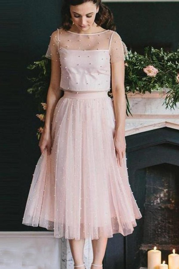 2020 Blush Pink Two Piece Bridesmaid Dresses Beaded Formal Gowns PKF5JSRF