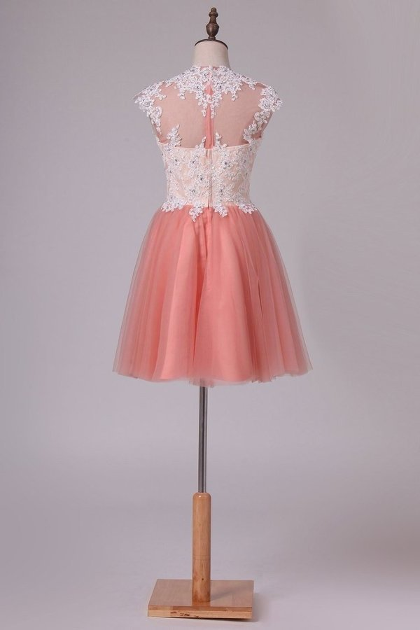 Homecoming Dresses A Line High Neck Tulle With PJ1HFMAL