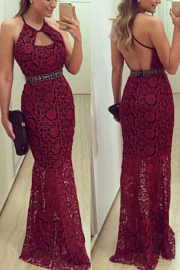 Spaghetti Straps Mermaid Lace Evening Dresses PMGDRYPG
