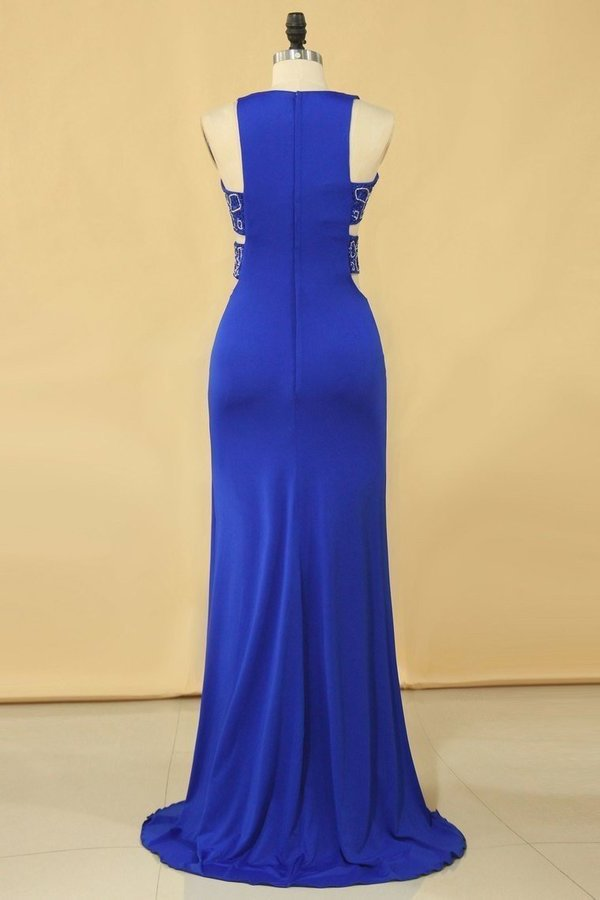 2020 Plus Size New Arrival Scoop Prom Dresses Dark Royal Blue Mermaid Spandex With Beading Sweep PT26YF58