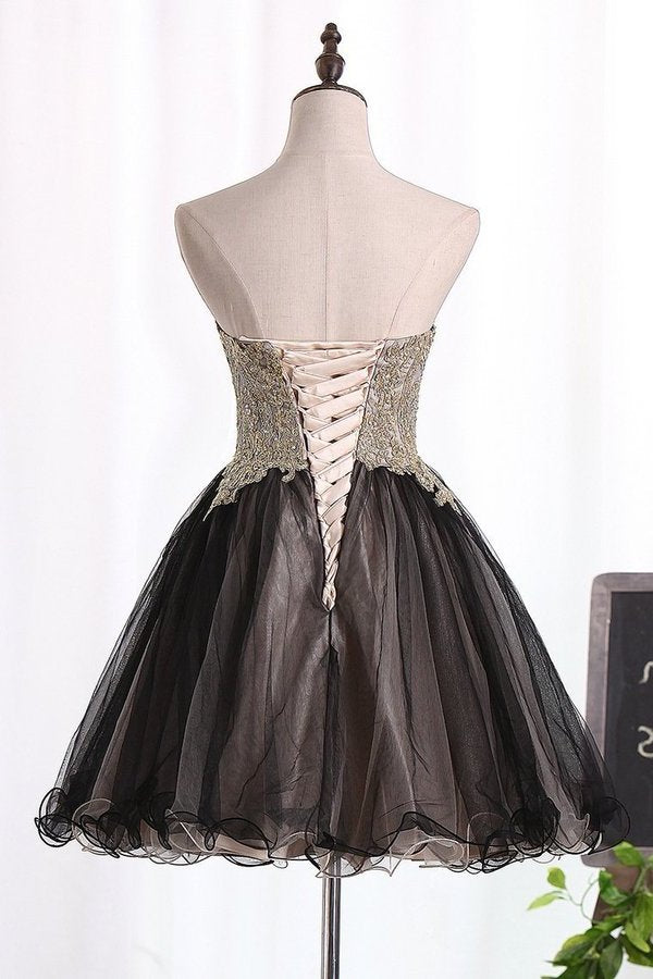 2020 Bicolor Sweetheart Homecoming Dresses Tulle With Beads PH1YSMGD
