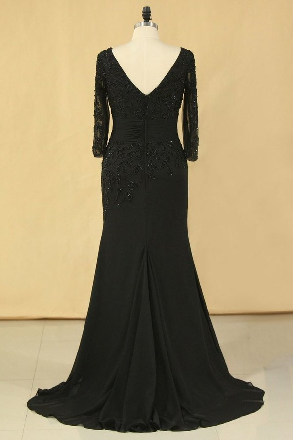 Black Mother Of The Bride Dresses V Neck Chiffon With Beads 3/4 Length PGM8C2X3