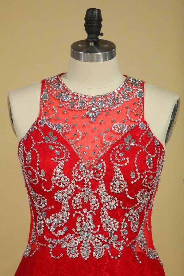 2020 Red Plus Size Prom Dresses Scoop Beaded Bodice Sweep Train P718ALTZ