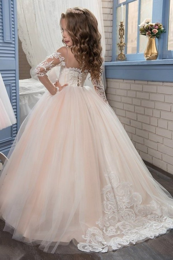 2020 Scoop Flower Girl Dresses Ball Gown Long Sleeves PCE57SD1