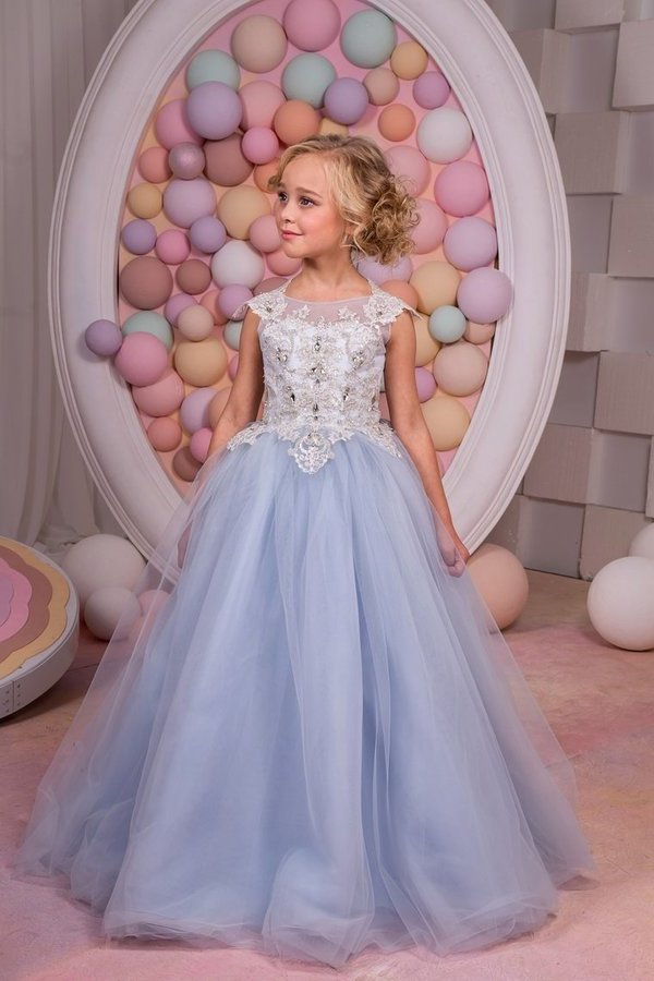 A Line Scoop Flower Girl Dresses Tulle With Applique PFLFBFKA