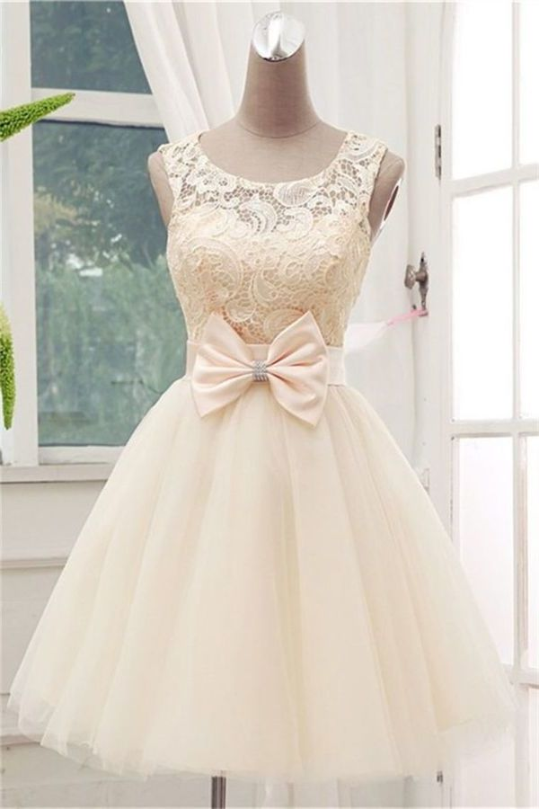 A Line Scoop Tulle & Lace Homecoming Dresses P9G9TCEC