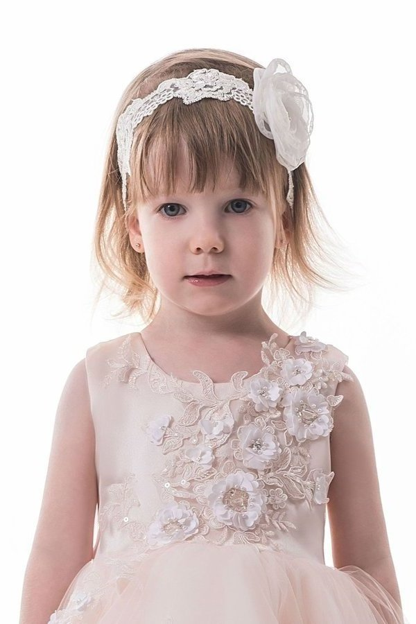 2020 Asymmetrical Scoop Tulle With Applique Flower Girl Dresses P2B74BYZ